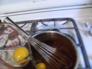 whisking sheet cake ingredients together