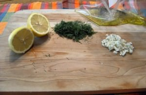 Fresh dill, lemon, and onion
