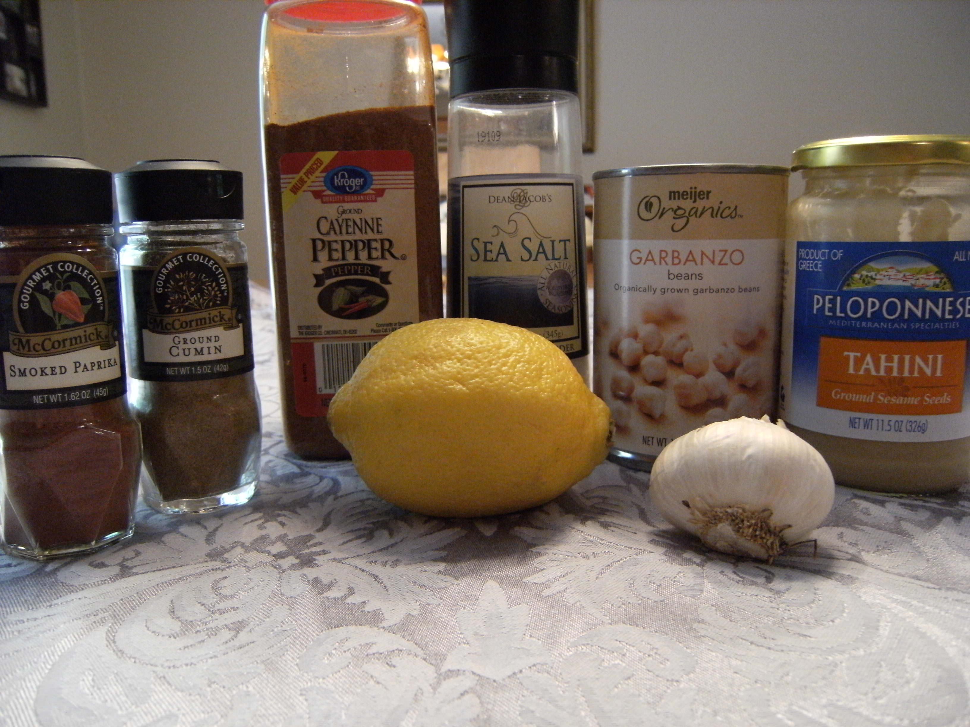 ingredients needed to make Mediterranean hummus