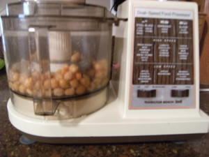 garbanzo beans in a food processor
