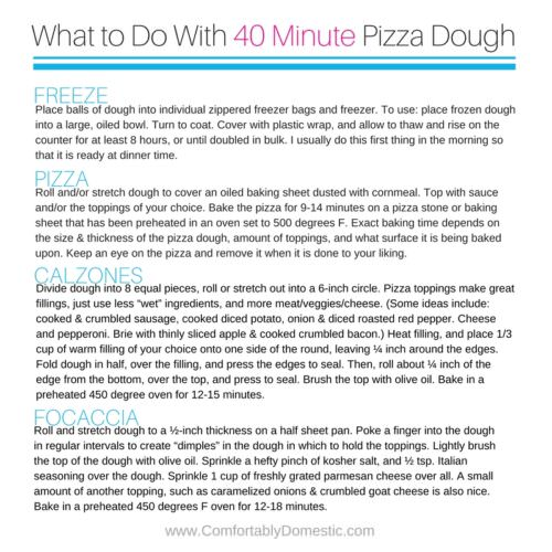 Homemade-pizza-dough is easy to make. Even better, it's quick, too. This dough can be made, risen, and be ready to bake in just 30 minutes!