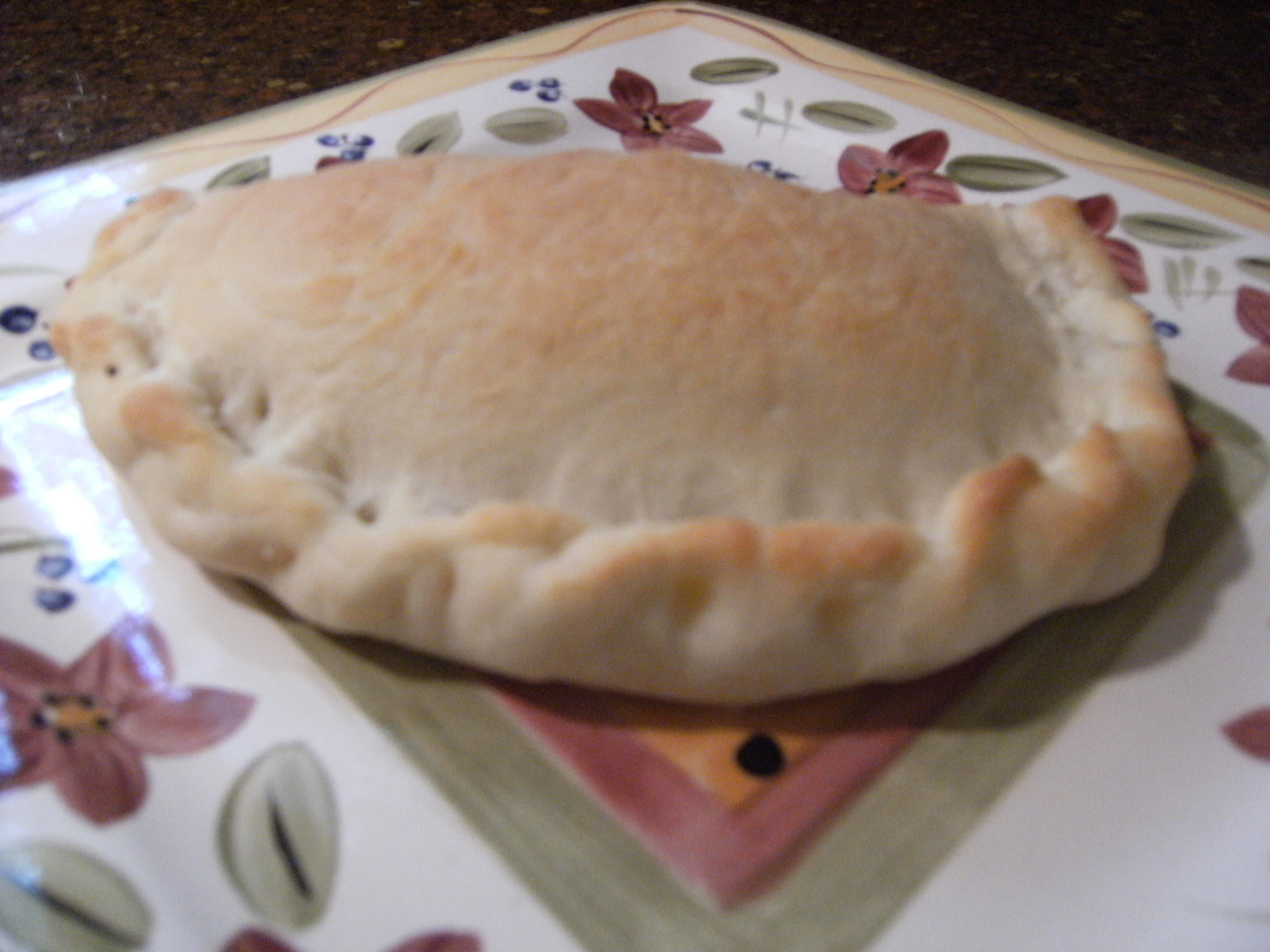 homemade calzone, made from homemade pizza dough