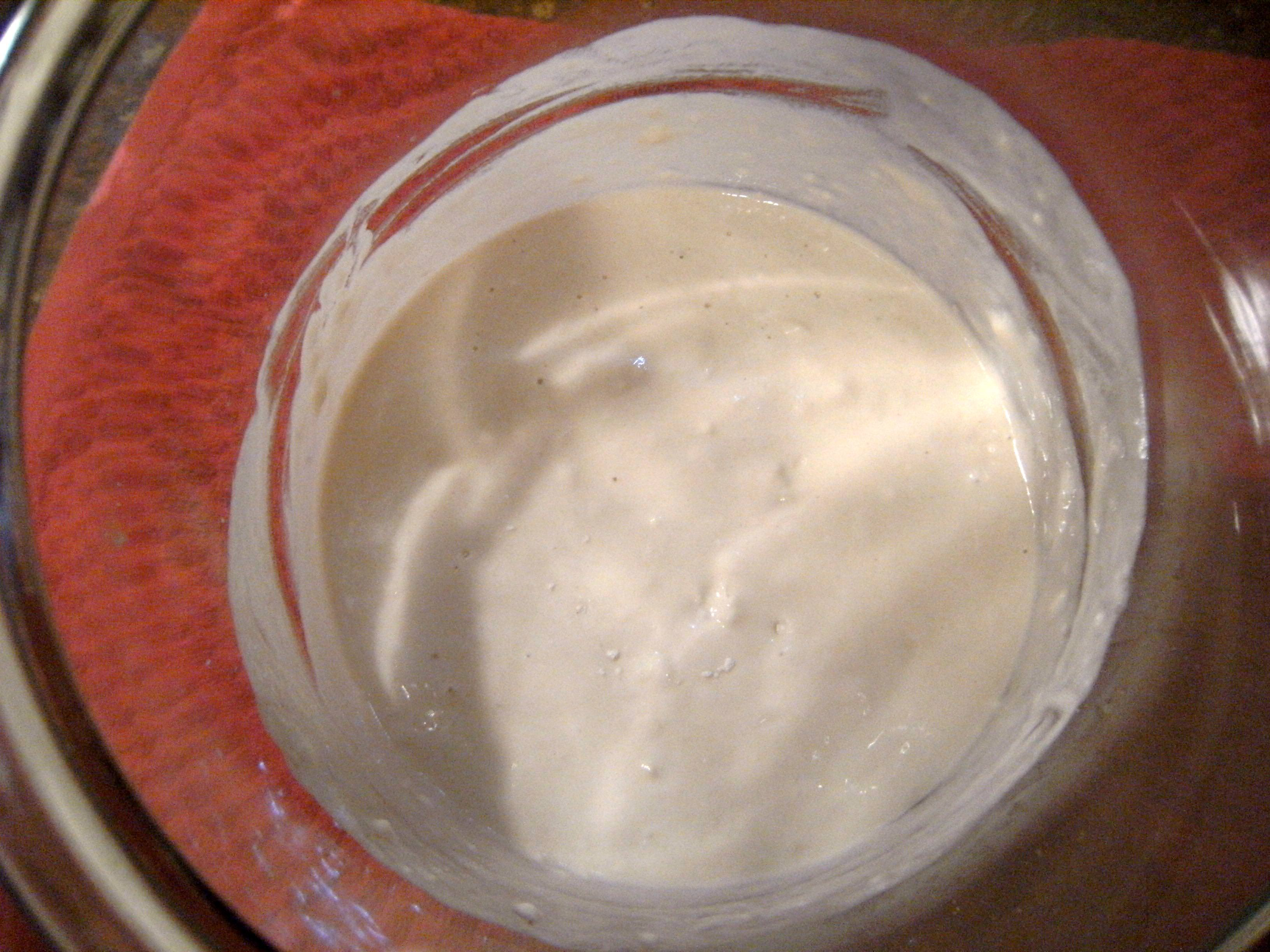 homemade sourdough starter is bubbling