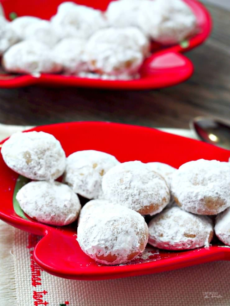 "Pfeffernusse-Spiced-Snowball-Cookies are traditional European snowball cookies, crunchy and robustly spiced. Despite the literal ""pepper nuts"" translation of the name, these tasty holiday cookies are nut free!"