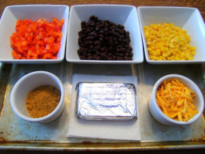 Ingredients needed to make layered taco dip