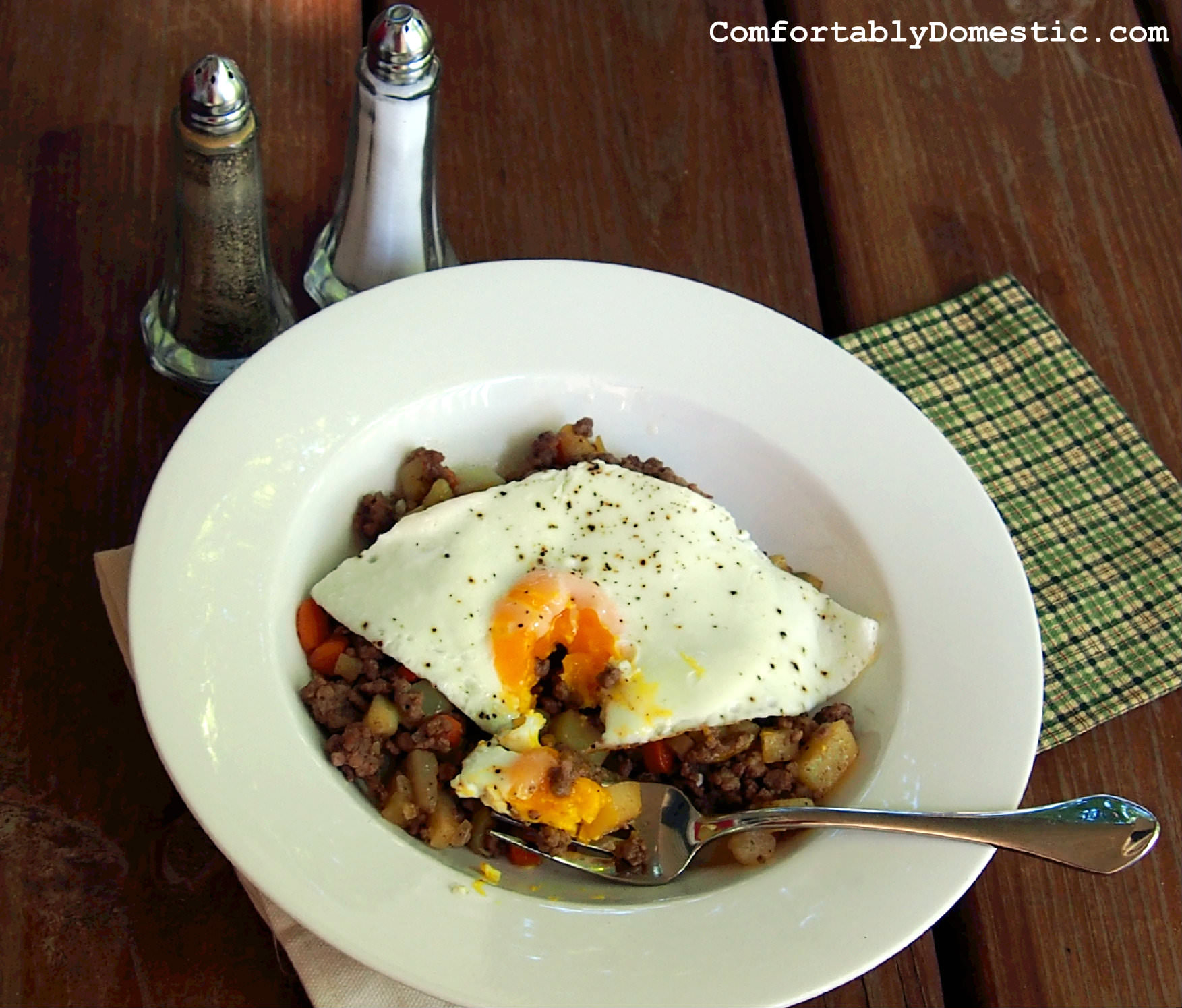 Hash and Eggs made with Pasty filling from ComfortablyDomestic.com
