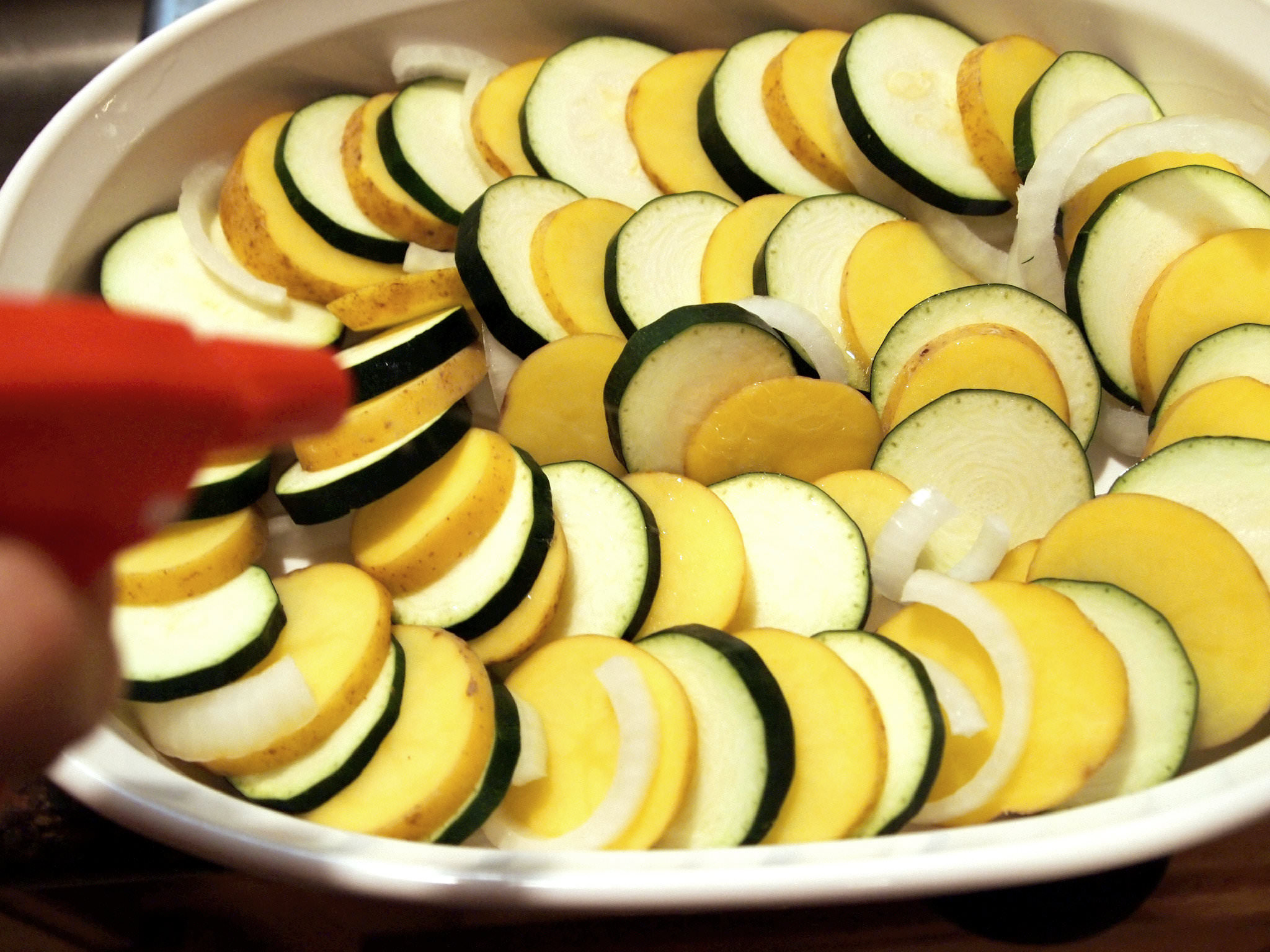 Layered squash and potatoes