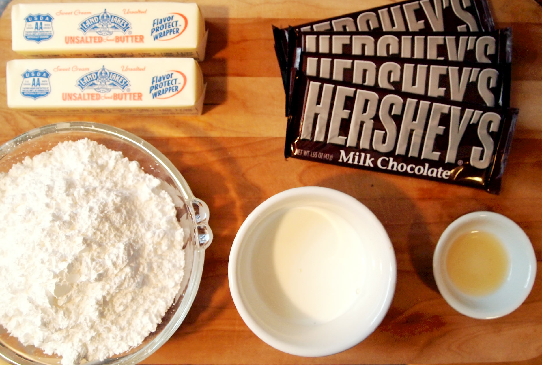 Ingredients needed to make milk chocolate buttercream frosting