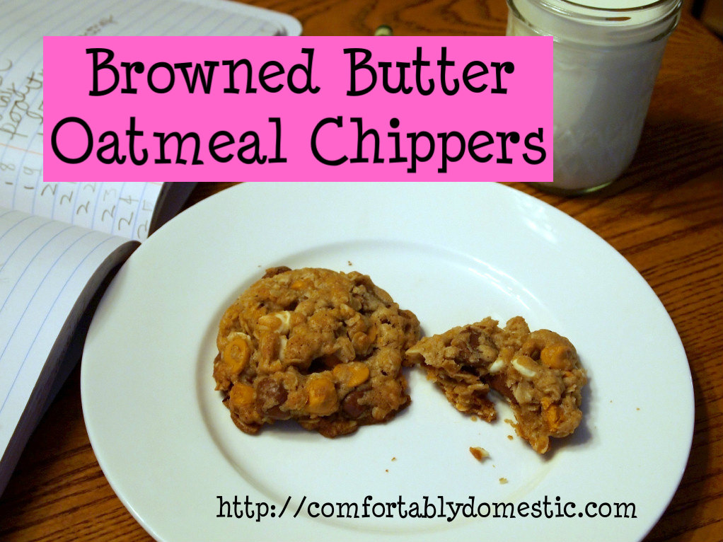 Browned butter oatmeal chippers are dense, chewy oatmeal cookies with butterscotch, milk chocolate, white chocolate and nutty undertones of browned butter. | ComfortablyDomestic.com