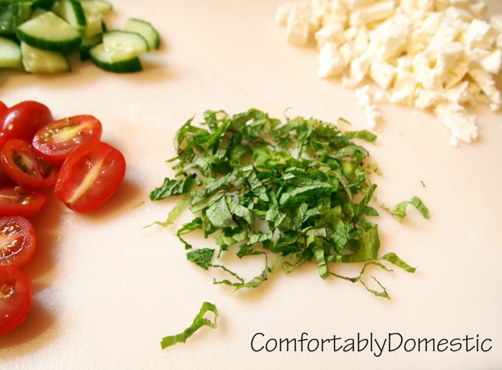 fresh mint, tomatoes, and cucumber
