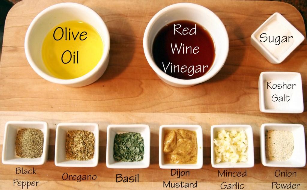 ingredients for Greek quinoa salad dressing