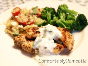 Mediterranean Grilled Chicken with Homemade Tzatziki Sauce