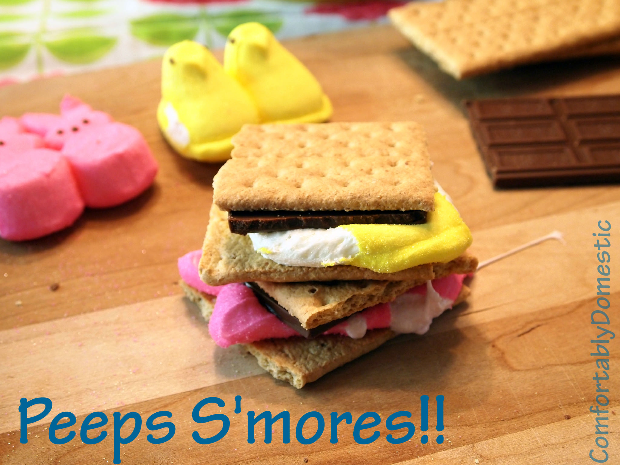 Marshmallow Peeps, graham crackers, and milk chocolate combine to create a delicious and fun Easter treat. Marshmallow Peeps s'mores! | ComfortablyDomestic.com