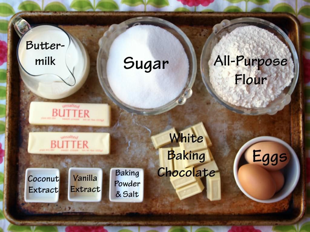 ingredients for Coconut Bundt Cake