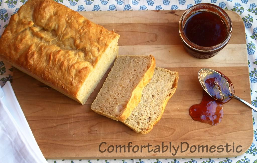 Honey wheat English muffin bread is the perfect breakfast sandwich solution for English muffin lovers, because it's easier and less time consuming to make! | ComfortablyDomestic.com