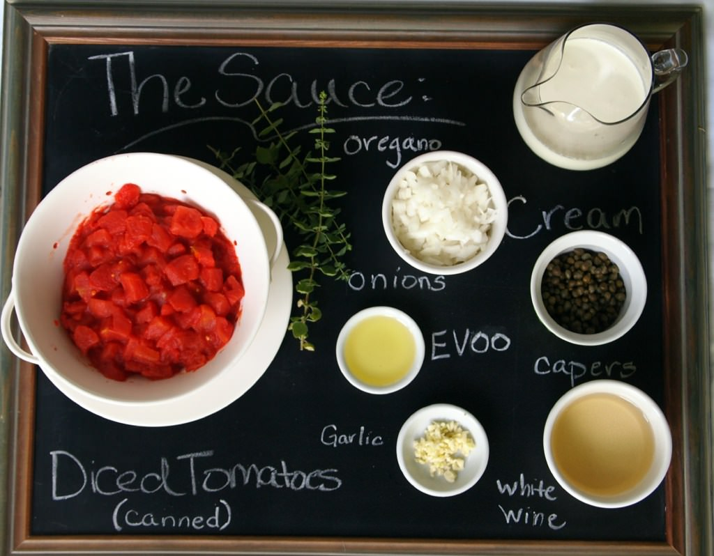 Ingredients to make the sauce for Tuscan crepes