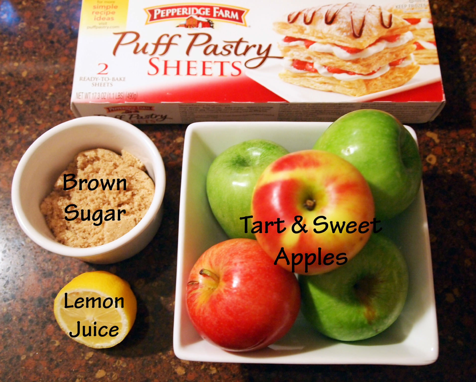 Ingredients to make easy apple turnovers