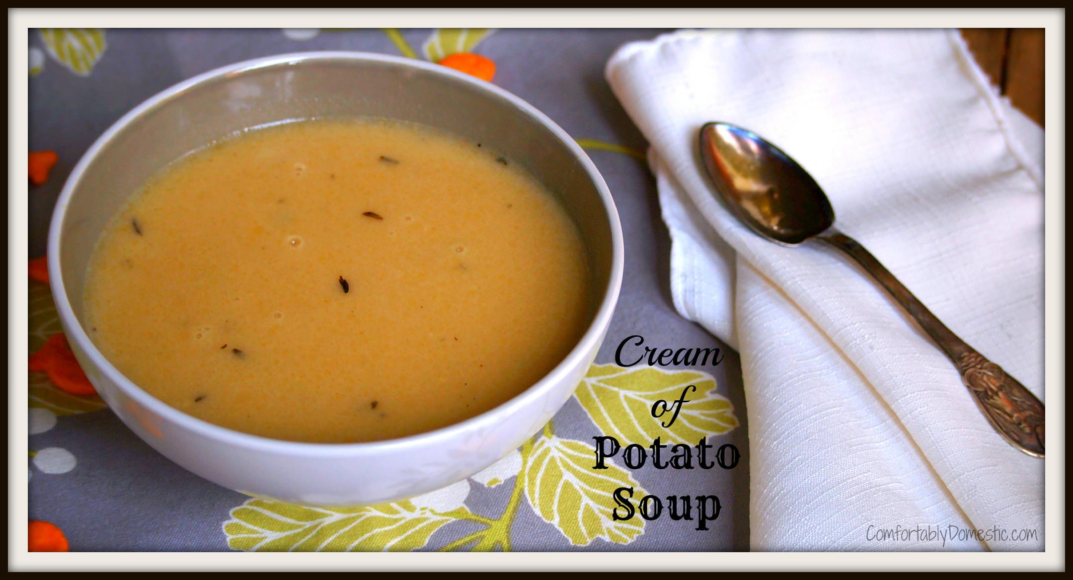 Cream of potato soup is a smooth, creamy potato soup with nice big chunks of potatoes. It's ready in about the time as it takes to prepare a canned soup, but tastes so much better.  | ComfortablyDomestic.com