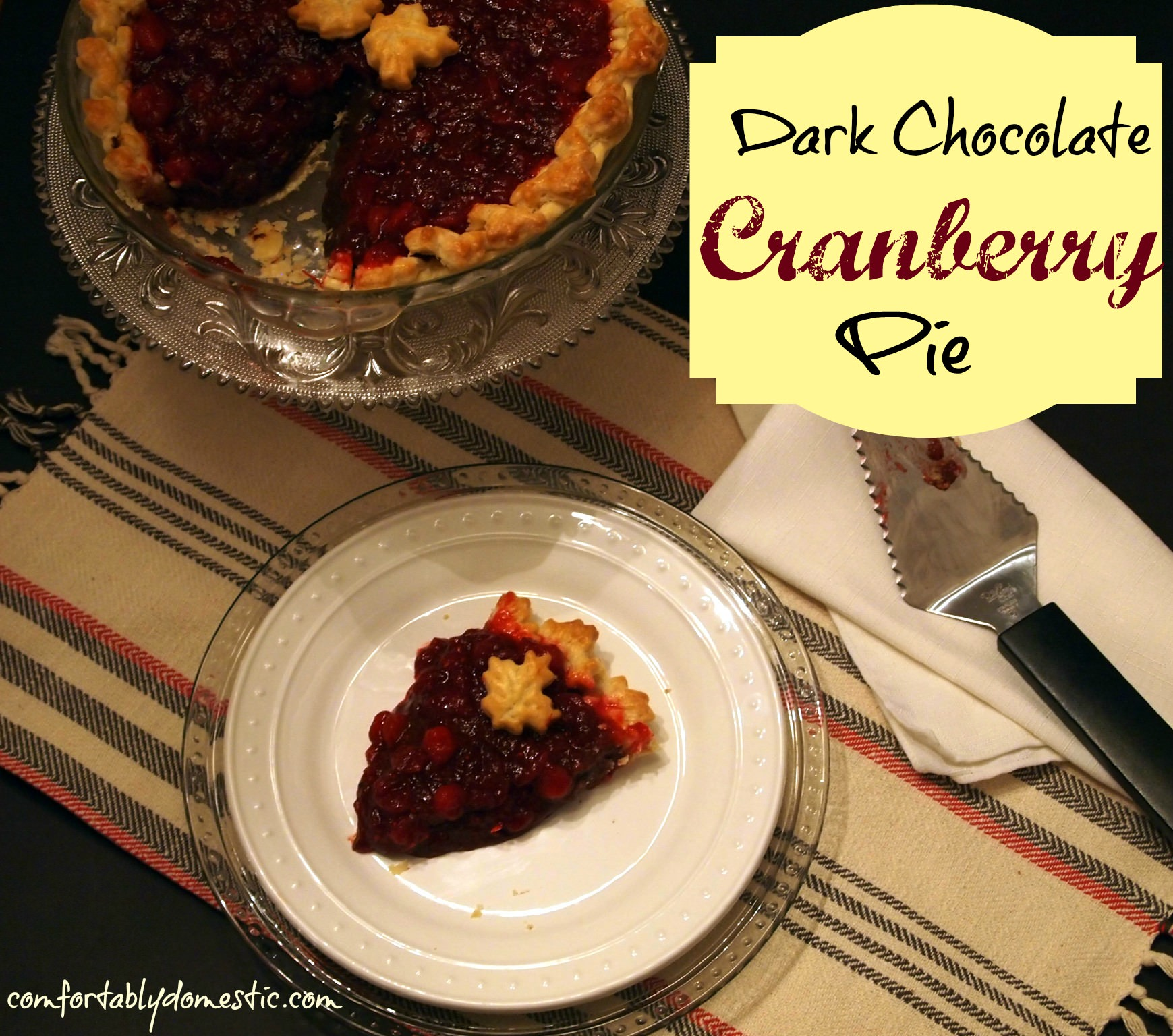 Dark chocolate cranberry pie may become your new favorite holiday pie recipe! Dark chocolate pie, topped with tart, fresh cranberry sauce, all baked into a flaky pie crust.