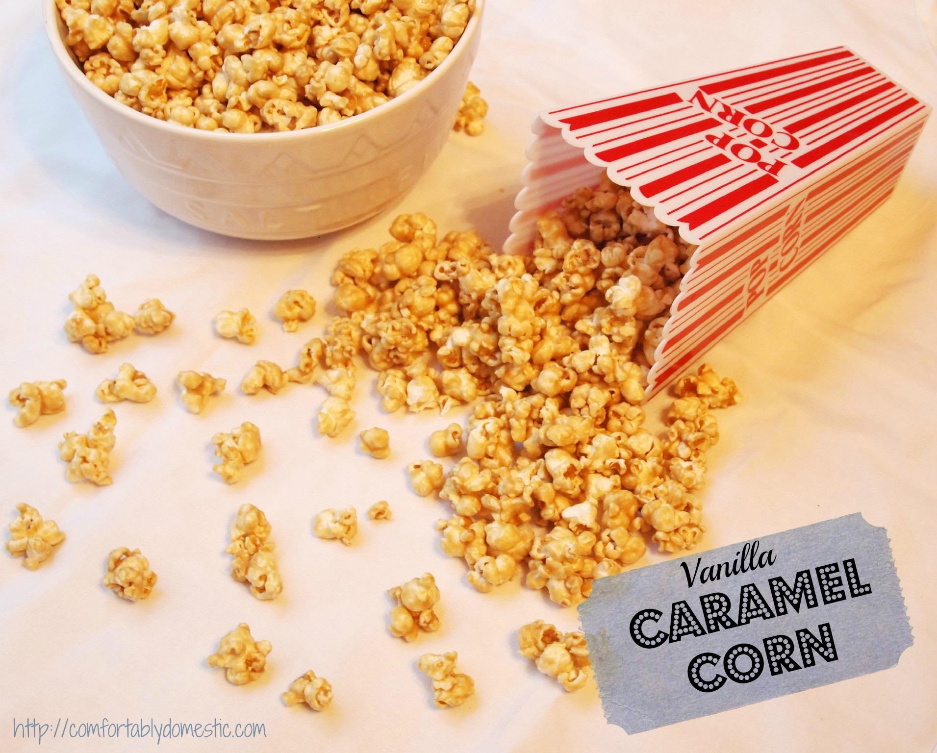 Vanilla Caramel Corn via ComfortablyDomestic