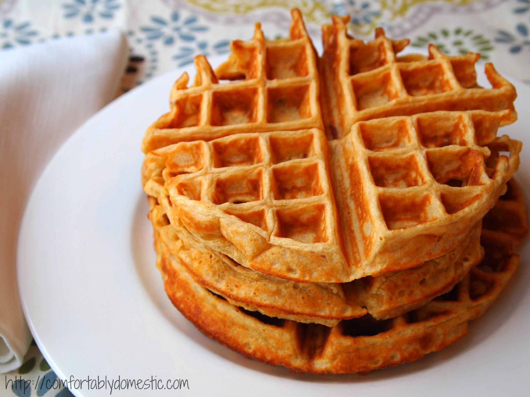 Whole Wheat Maple Bacon Waffles | Recipe on ComfortablyDomestic.com