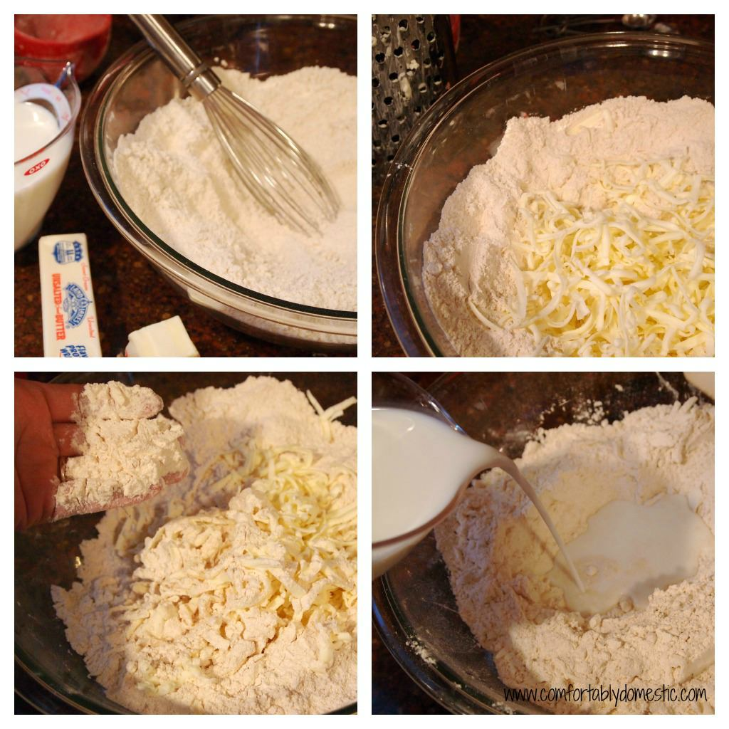Mixing up whole wheat buttermilk biscuits