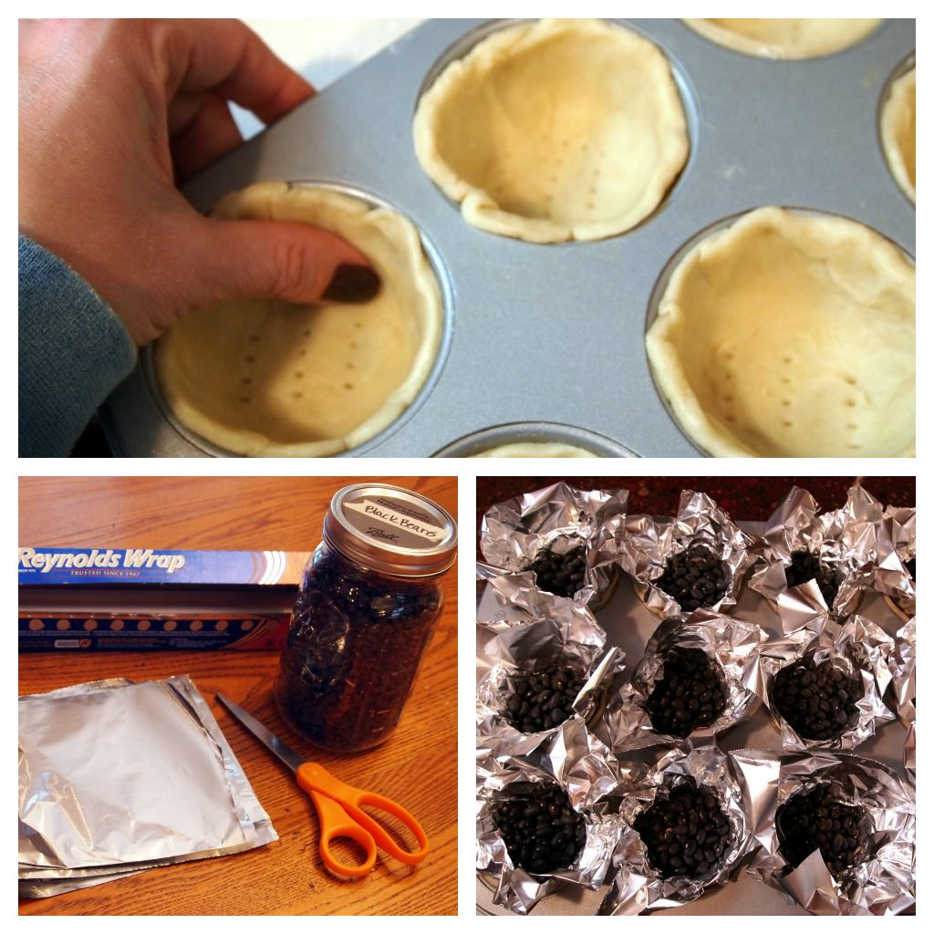 prepping pie shells for blind baking
