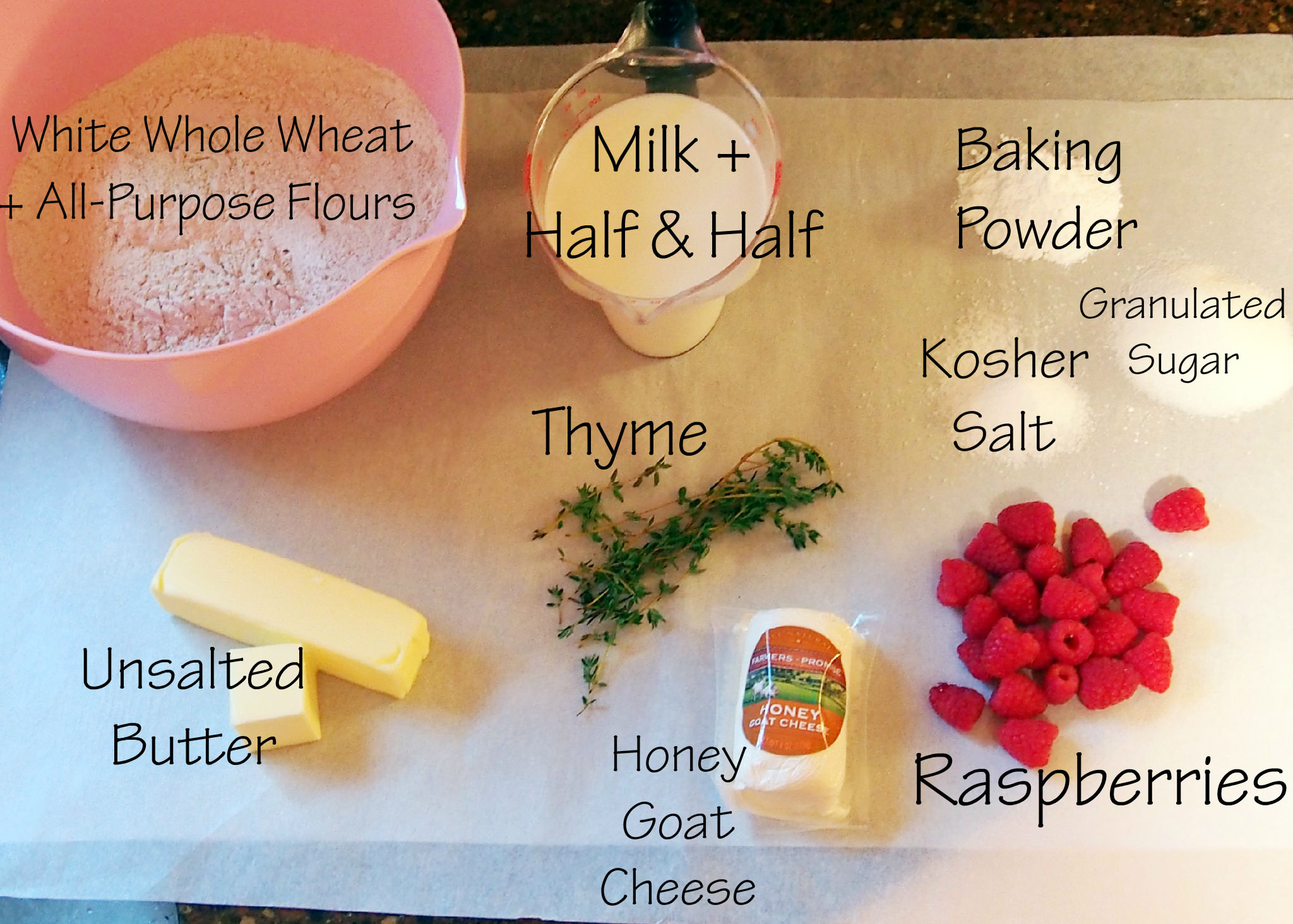 Ingredients needed to make Rosemary, Thyme, Goat Cheese Biscuits