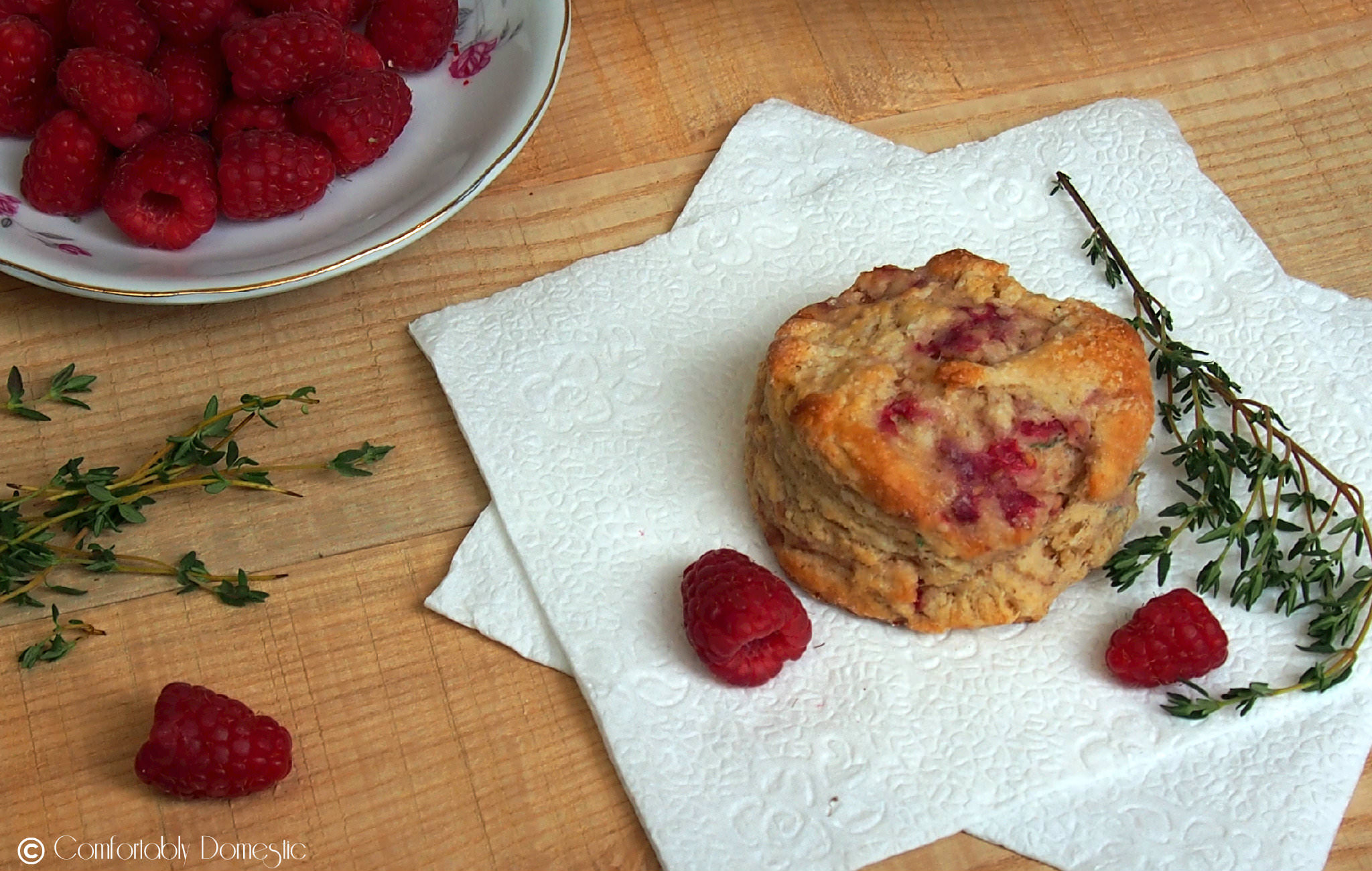 Raspberry Thyme Goat Cheese Biscuits - Comfortably Domestic