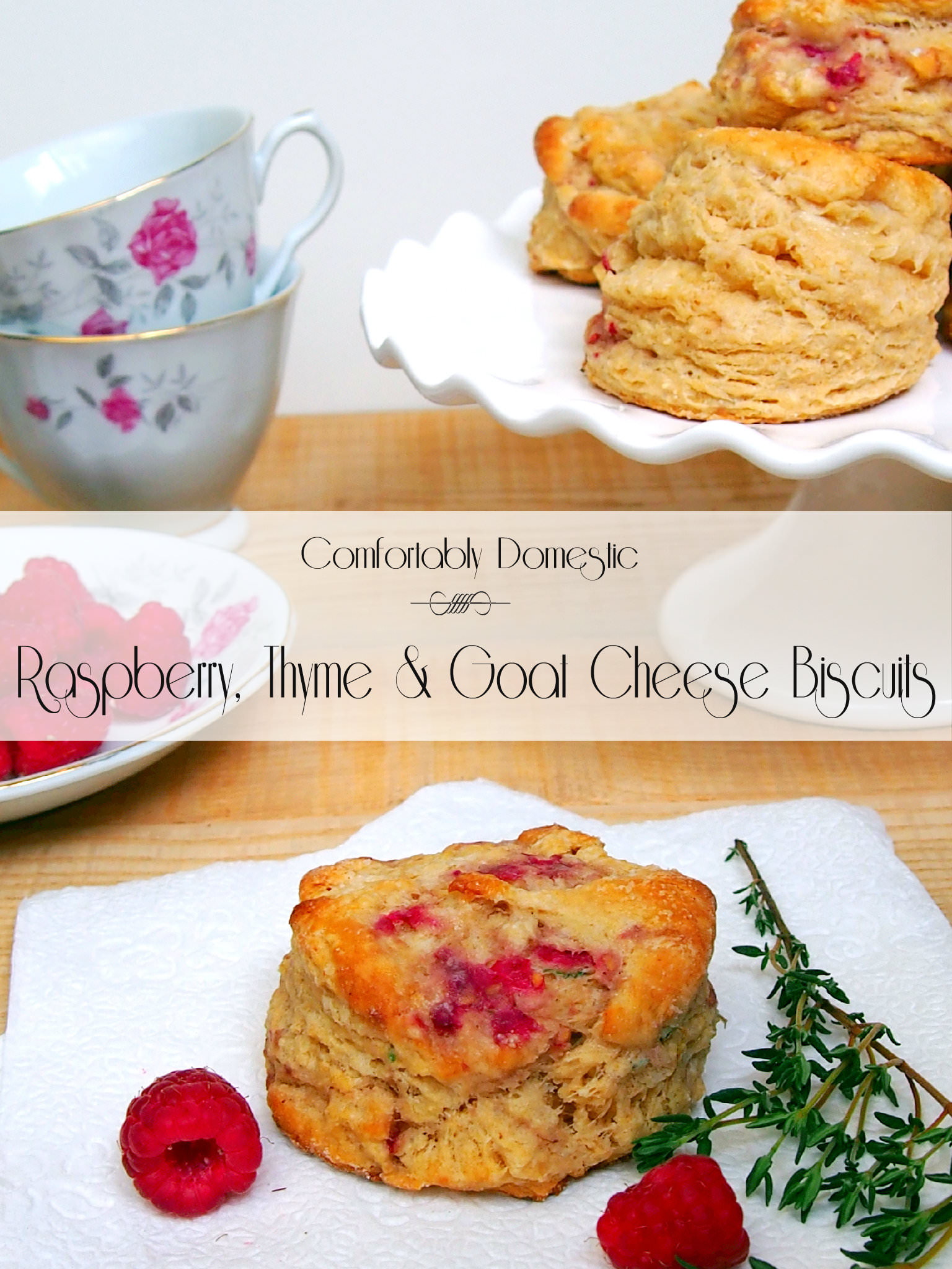 Raspberry thyme goat cheese biscuits are the perfect treat with a hot ...