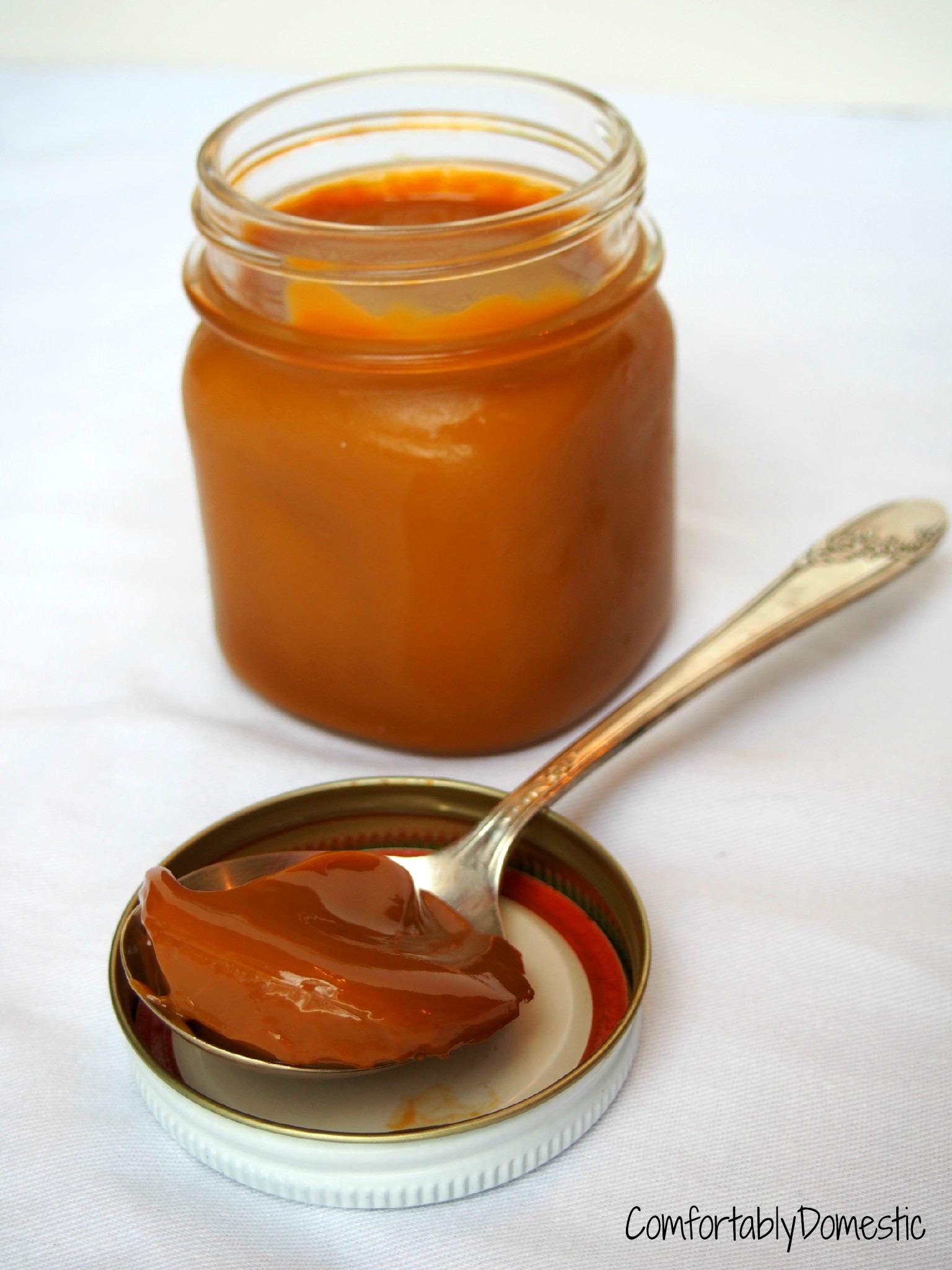 Dulce de Leche Caramel made in the crock pot from ComfortablyDomestic.com
