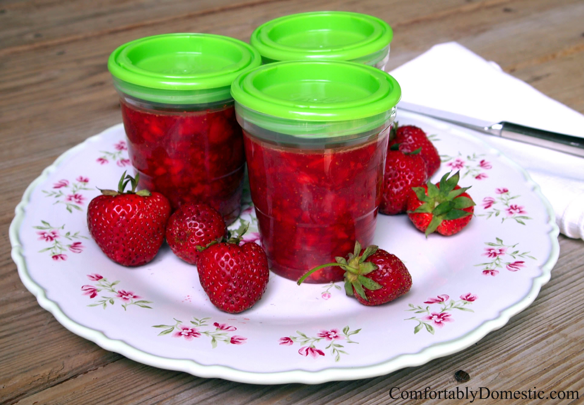 Easy Strawberry Freezer Jam by ComfortablyDomestic.com