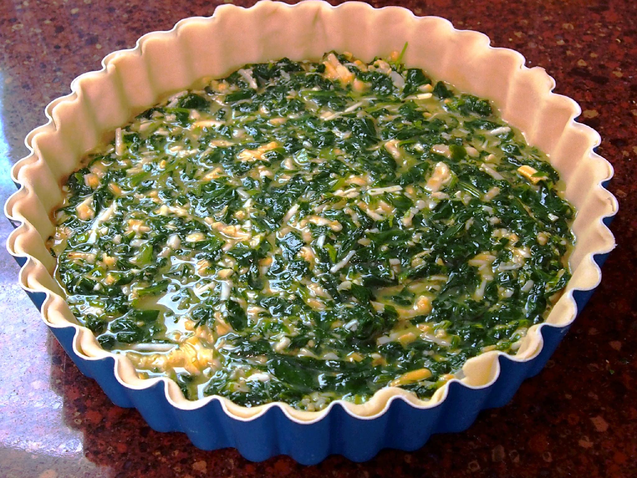 pre-baked fresh spinach tart