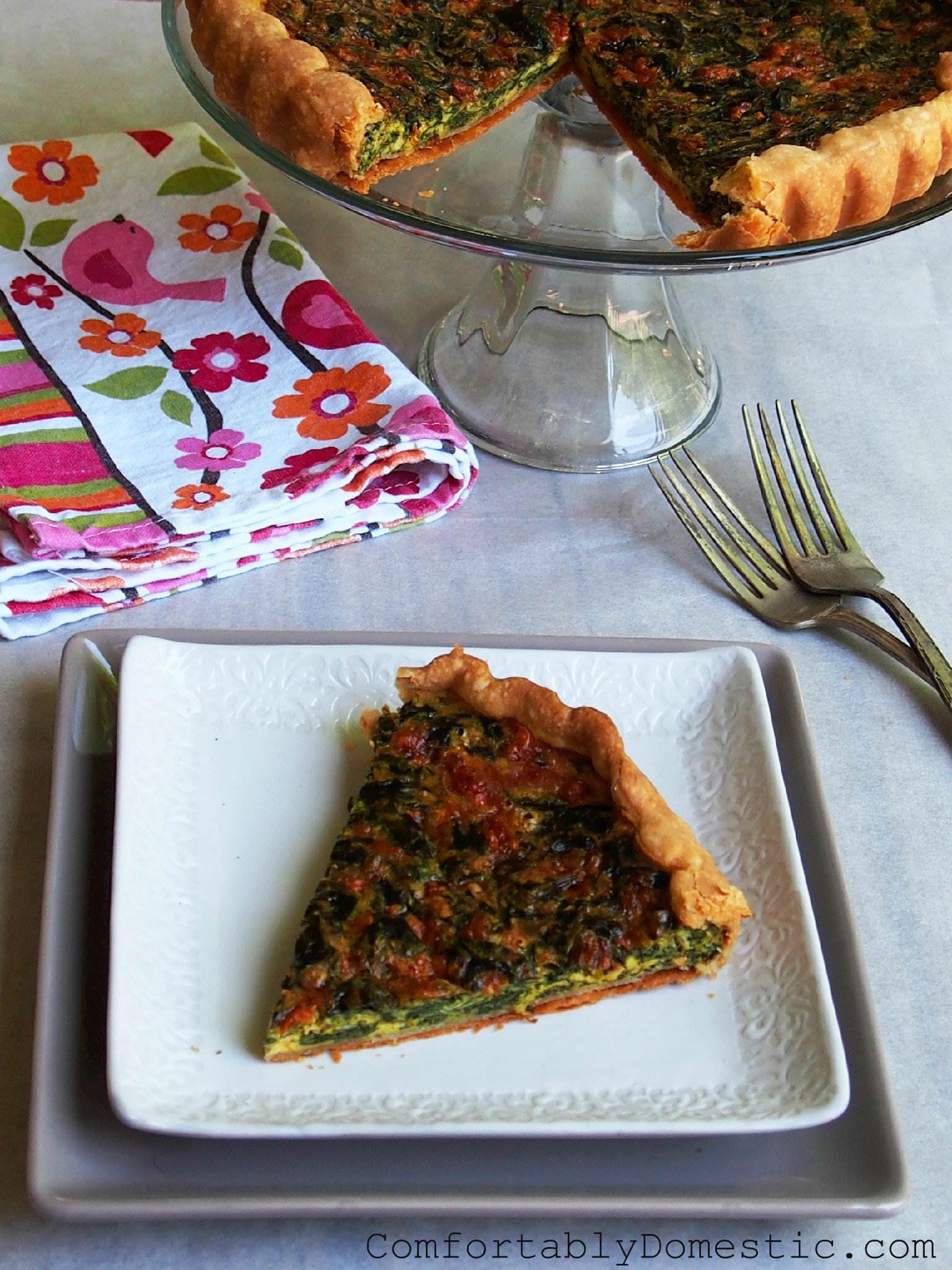 Fresh Spinach Tart with Feta | ComfortablyDomestic.com