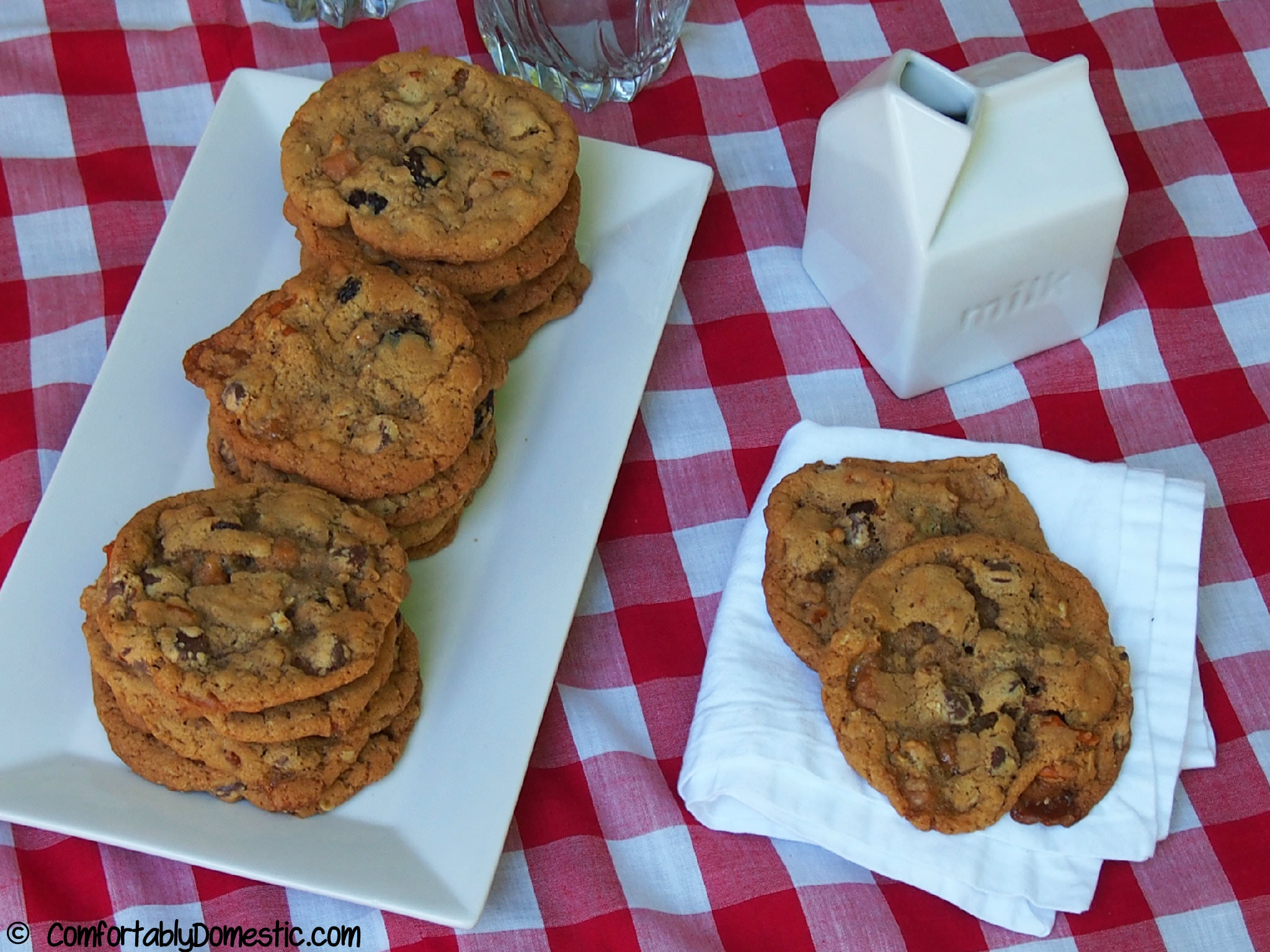 Everything cookies contain semi sweet chocolate chips, crushed salted pretzels, dried cherries, chewy caramel bits, and wholesome rolled oats. | ComfortablyDomestic.com