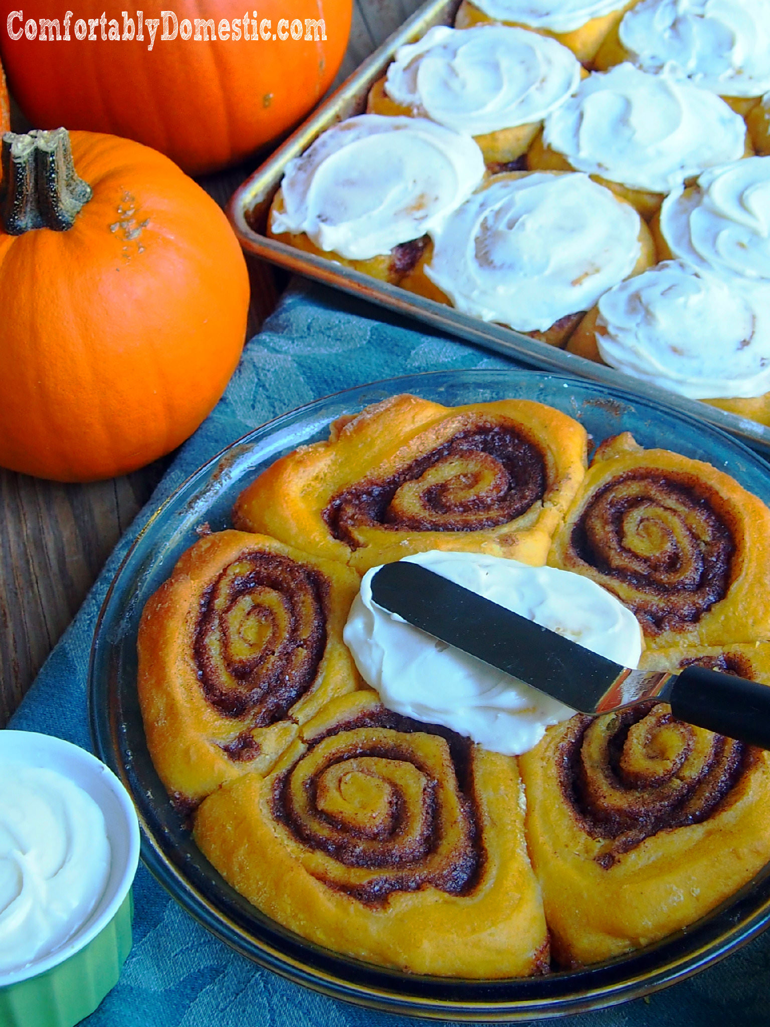 Pumpkin Cinnamon Rolls with Cream Cheese Icing | ComfortablyDomestic.com