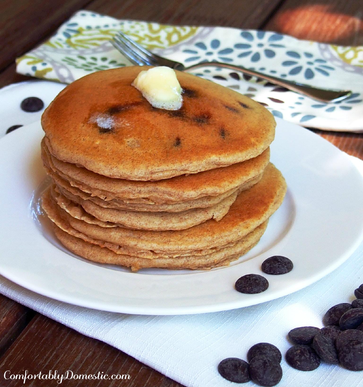 Chocolate Chip Buttermilk Pancakes | ComfortablyDomestic.com