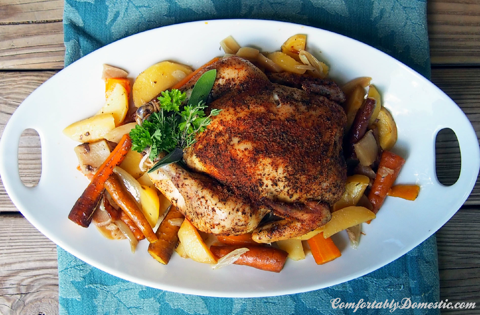 Slow Cooker Whole Roasted Chicken Is The Perfect Dinner! Succulent,  Seasoned Chicken On A