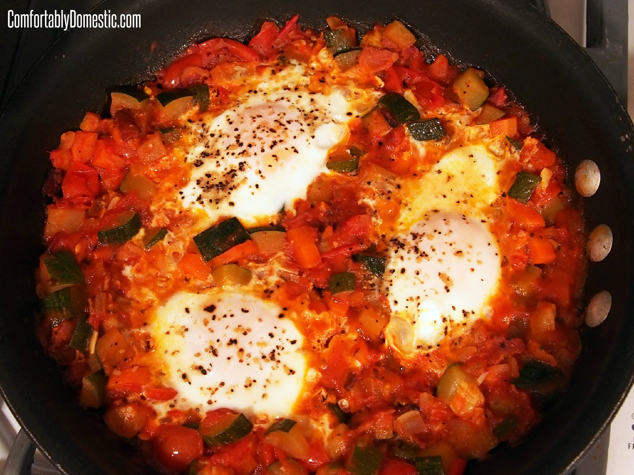 Leftover Ratatouille with Eggs | ComfortablyDomestic.com