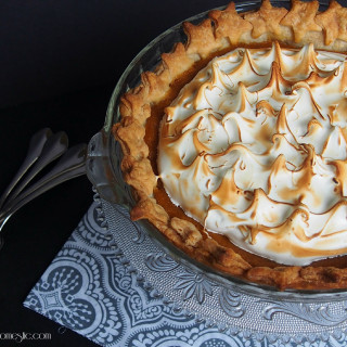 Maple Sweet Potato Pie with Swiss Meringue | ComfortablyDomestic.com