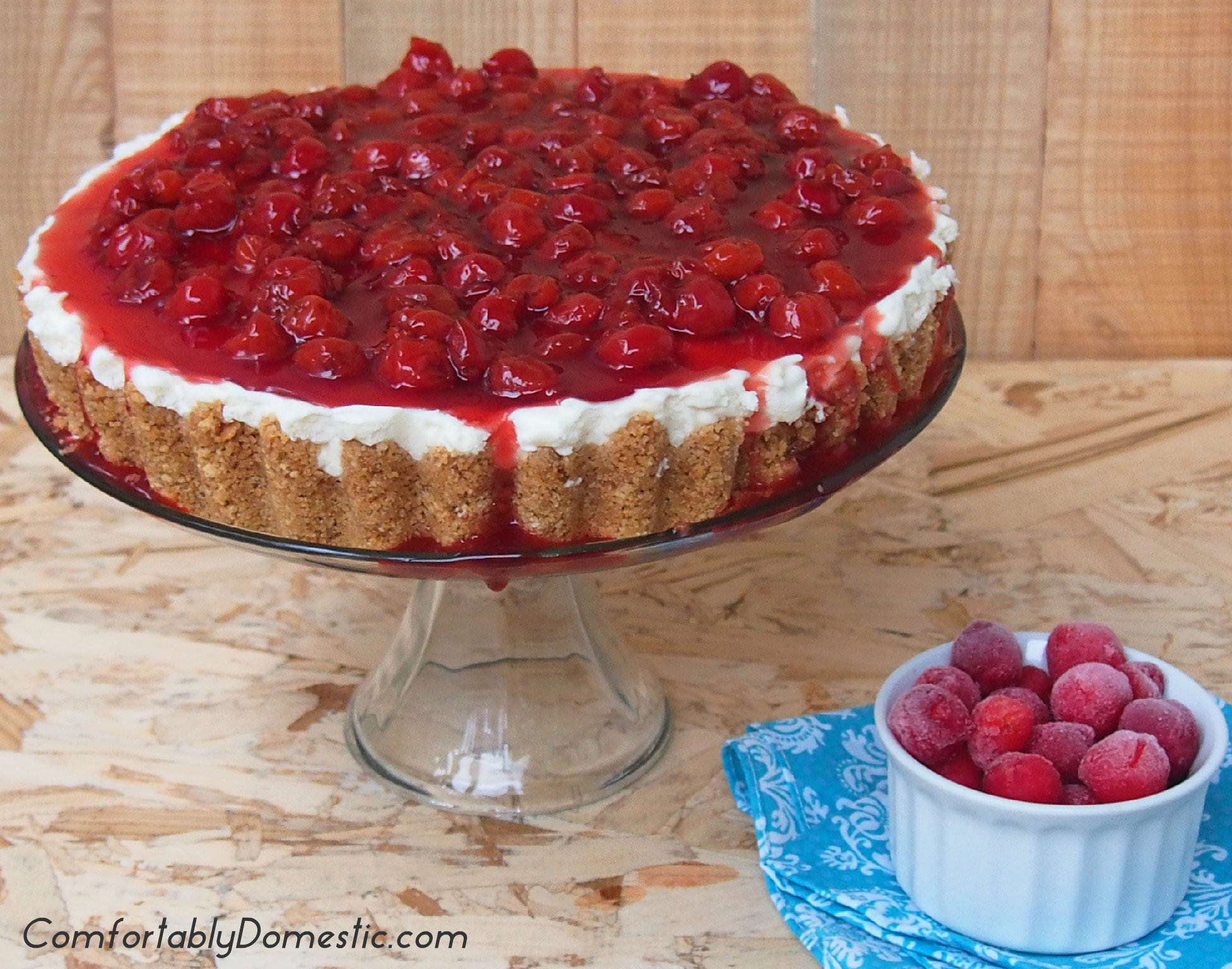 No Bake Cherry Cheesecake | ComfortablyDomestic.com