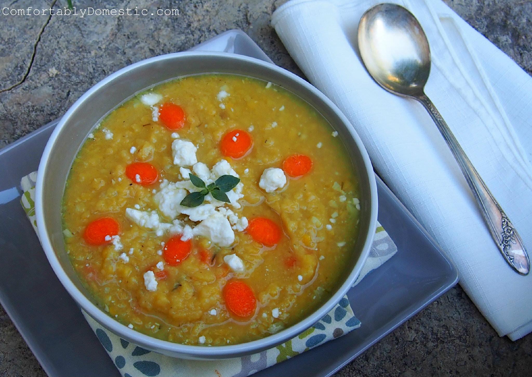 Garlic Lentil Soup with Lemon and Feta | ComfortablyDomestic.com