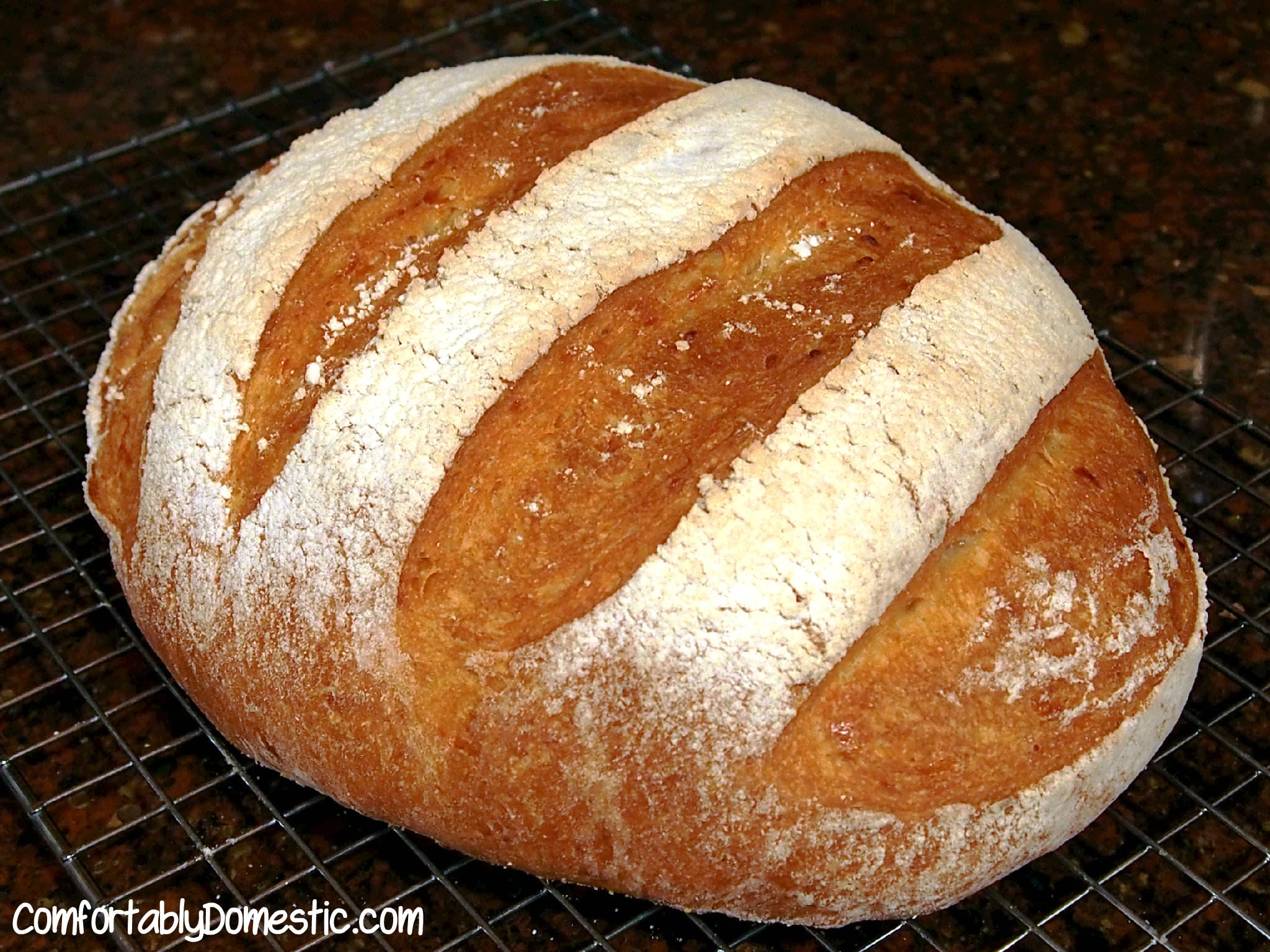 This no knead artisan cheddar bread recipe creates soft and crusty bread that easily comes together with a wooden spoon and requires absolutely no kneading! Get the recipe on ComfortablyDomestic.com