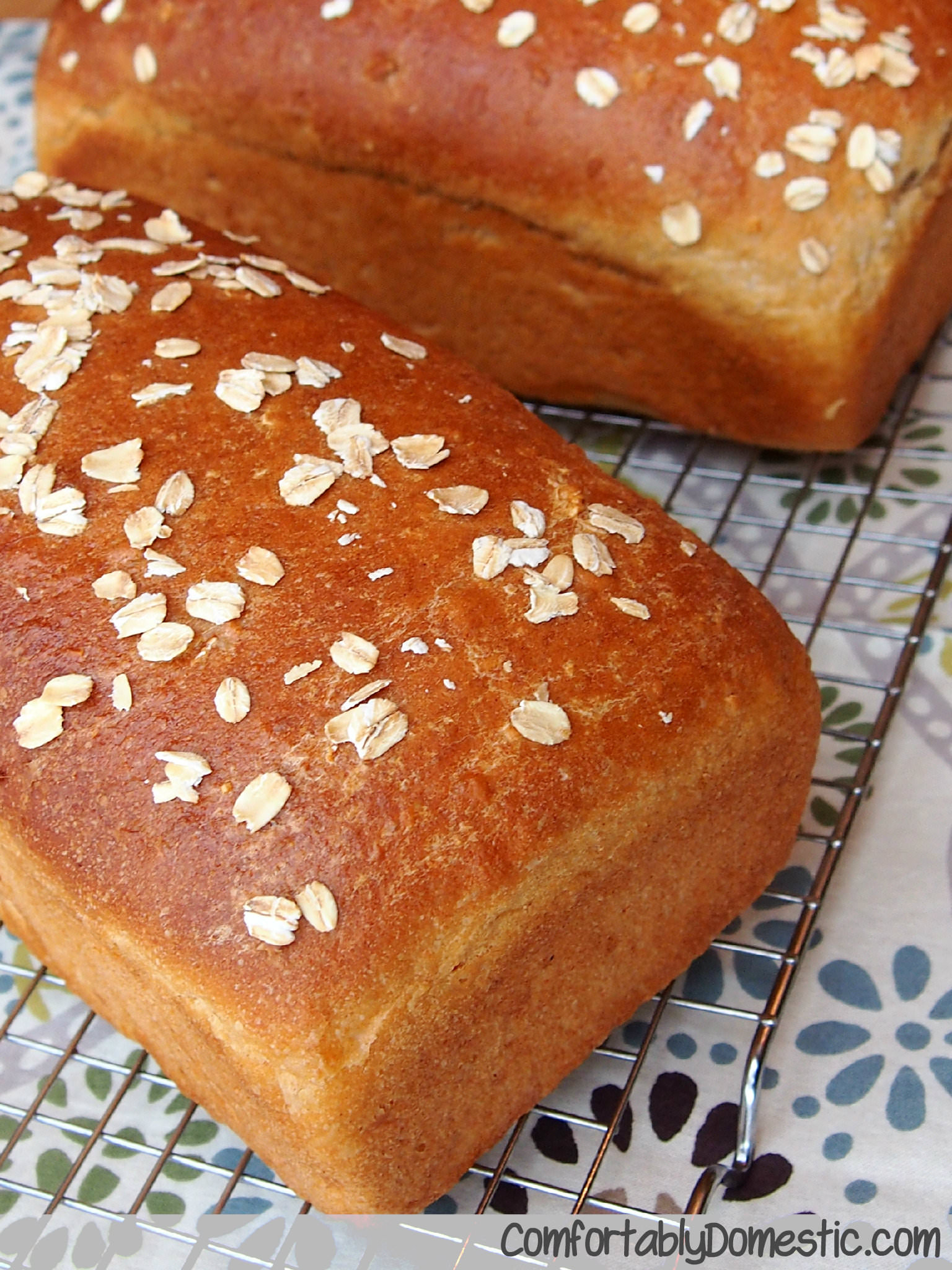 Whole Wheat Honey Oat Bread via ComfortablyDomestic.com