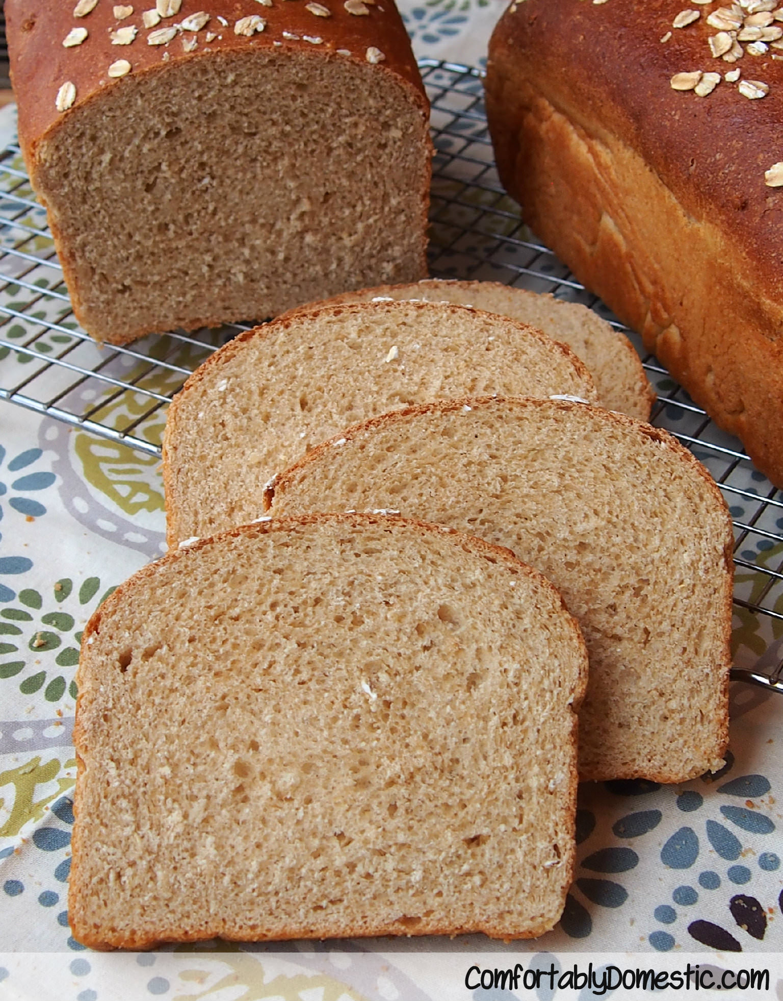 Honey Oatmeal Bread from ComfortablyDomestic.com