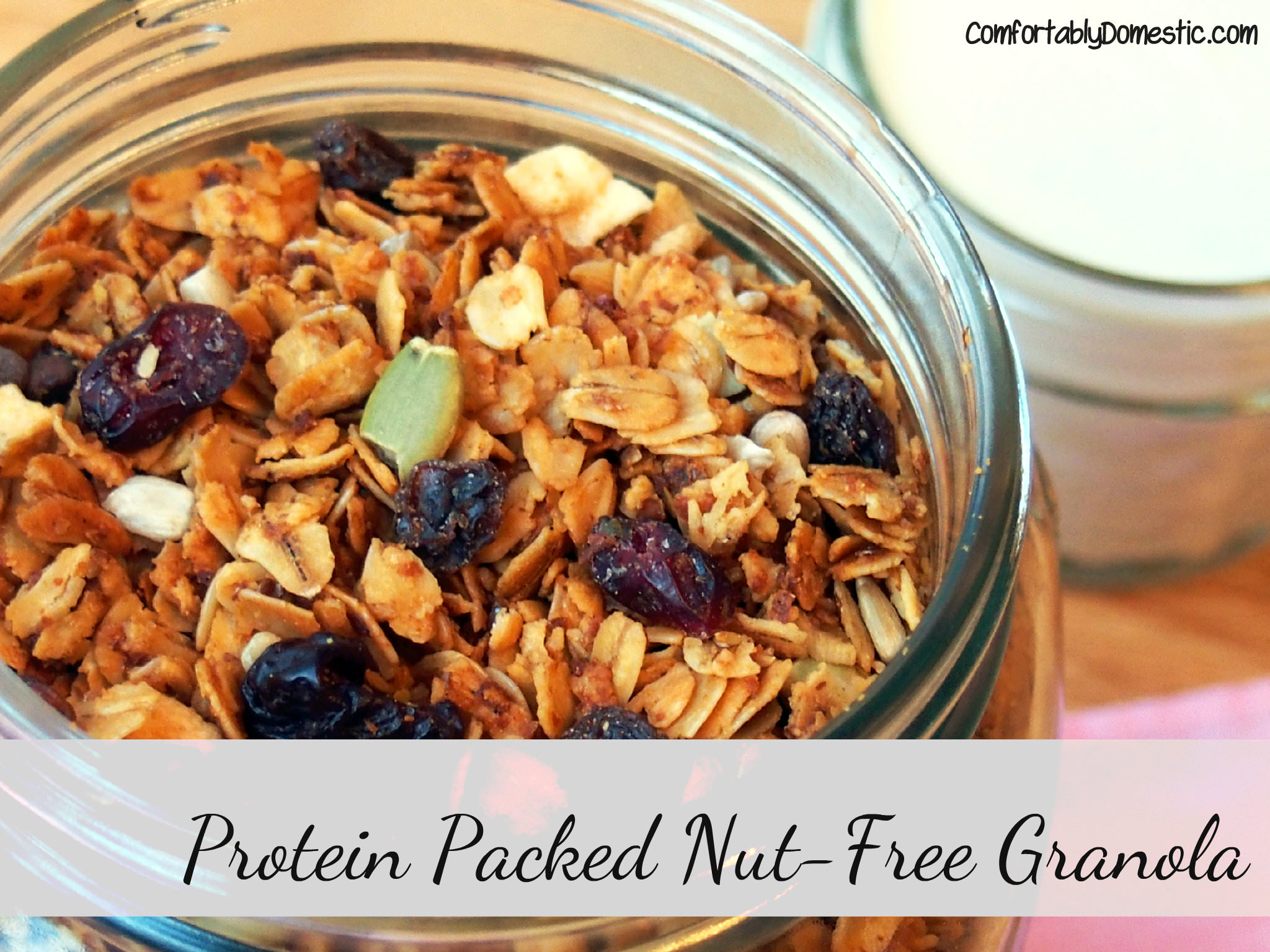 Nut free granola is healthy, sweet, and crunchy, bursting with protein and plenty of dried fruit to round out the flavors. | ComfortablyDomestic.com