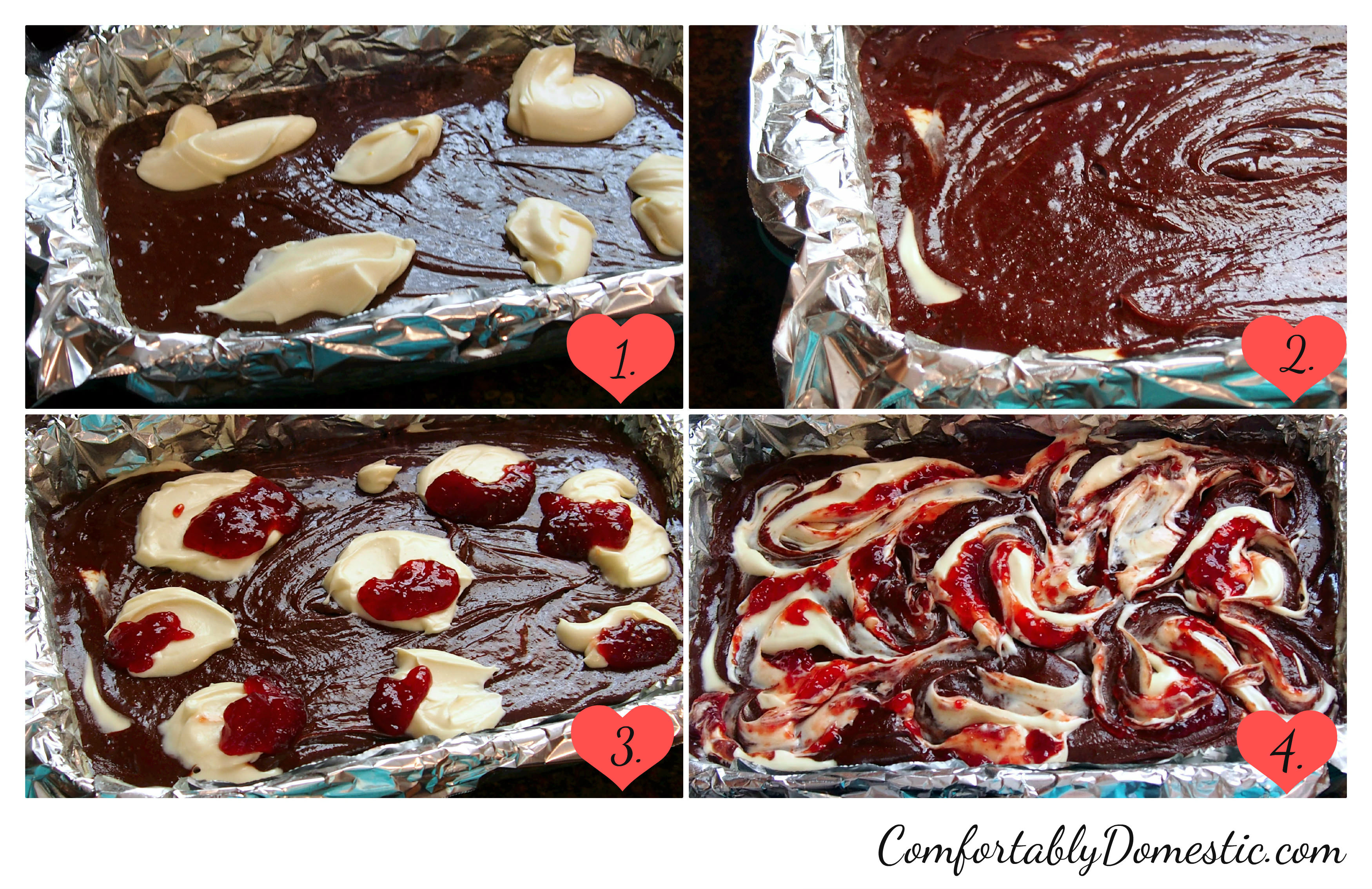 strawberrycheesecakebrownielayers via ComfortablyDomestic.com