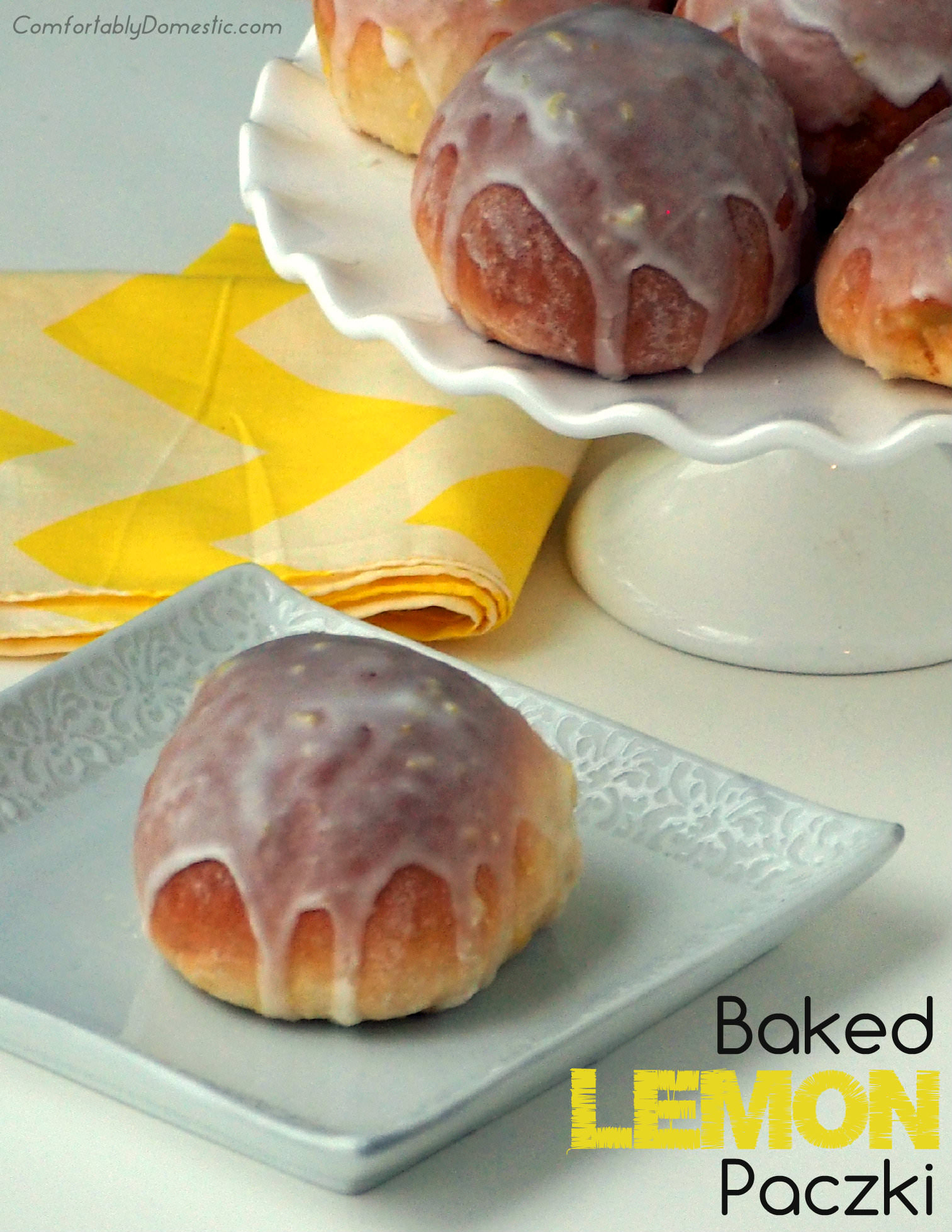 Baked Lemon Custard Doughnuts {Lemon Paczki} are a lighter version of traditional paczki. | ComfortablyDomestic.com