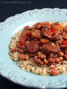 {Easy Recipes} Slow Cooker Chicken Andouille Beans and Rice