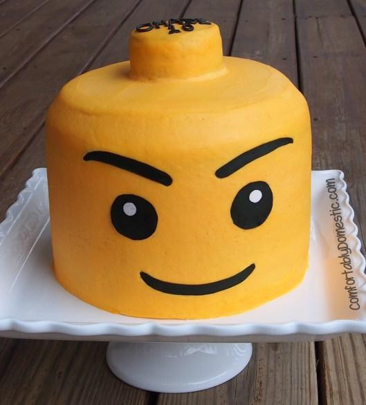 Lego Mini Figure Head Cake | ComfortablyDomestic.com